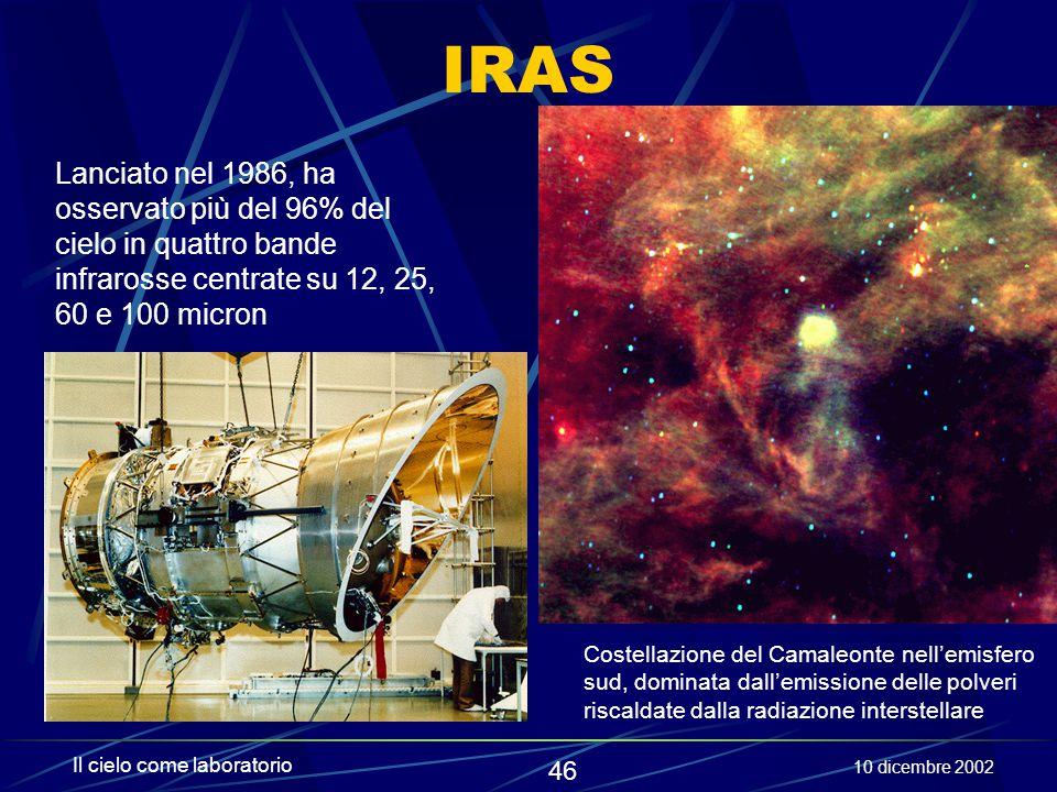 IRAS Lanciato nel 1986, ha osservato più del 96% del cielo in quattro bande infrarosse centrate su 12, 25, 60 e 100 micron.