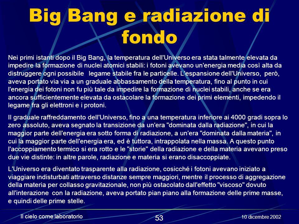 Big Bang e radiazione di fondo