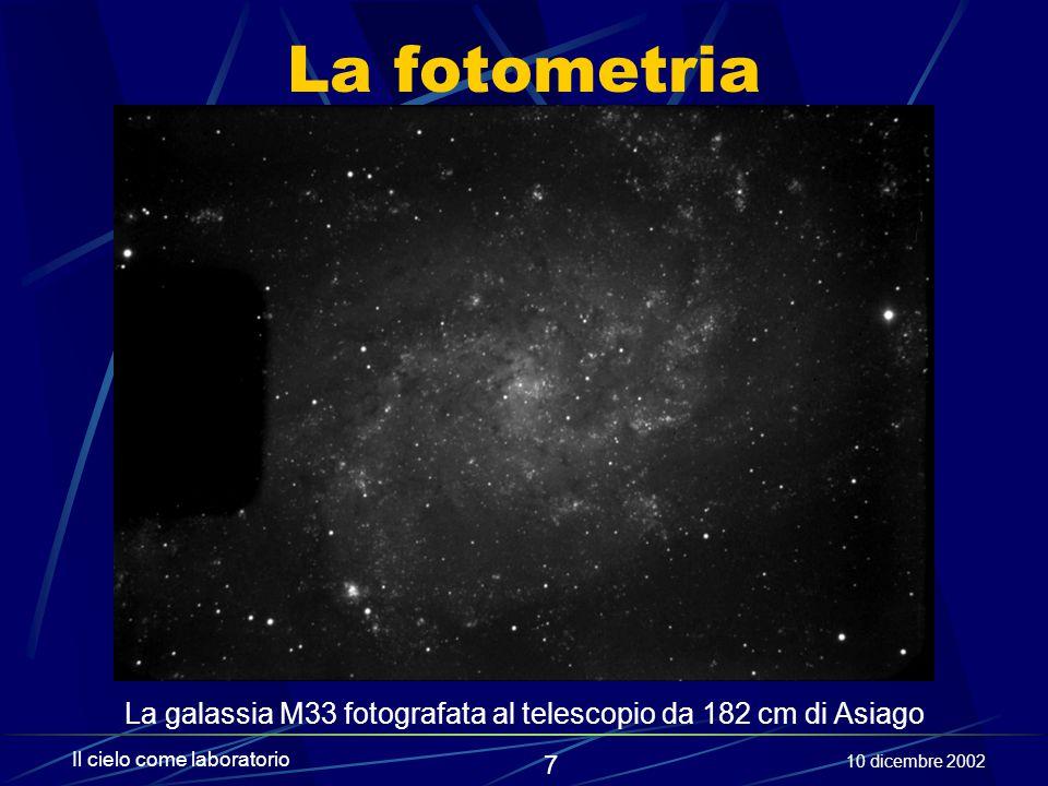 La fotometria La galassia M33 fotografata al telescopio da 182 cm di Asiago. Il cielo come laboratorio.