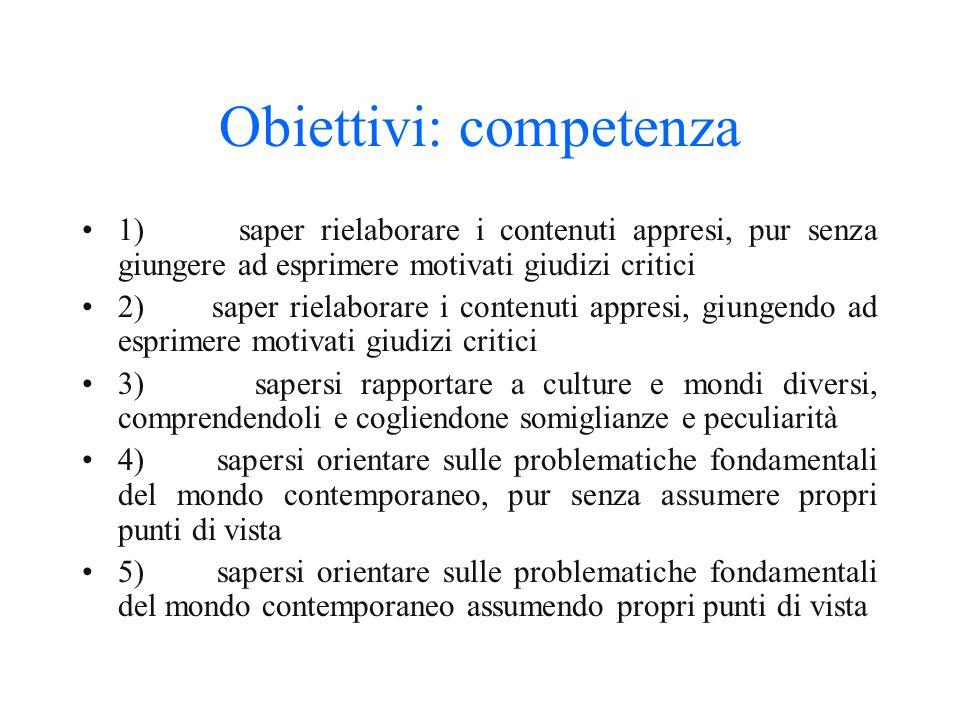 Obiettivi: competenza