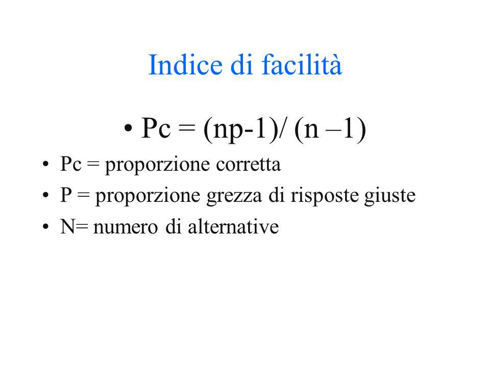 Indice di facilità Pc = (np-1)/ (n –1) Pc = proporzione corretta