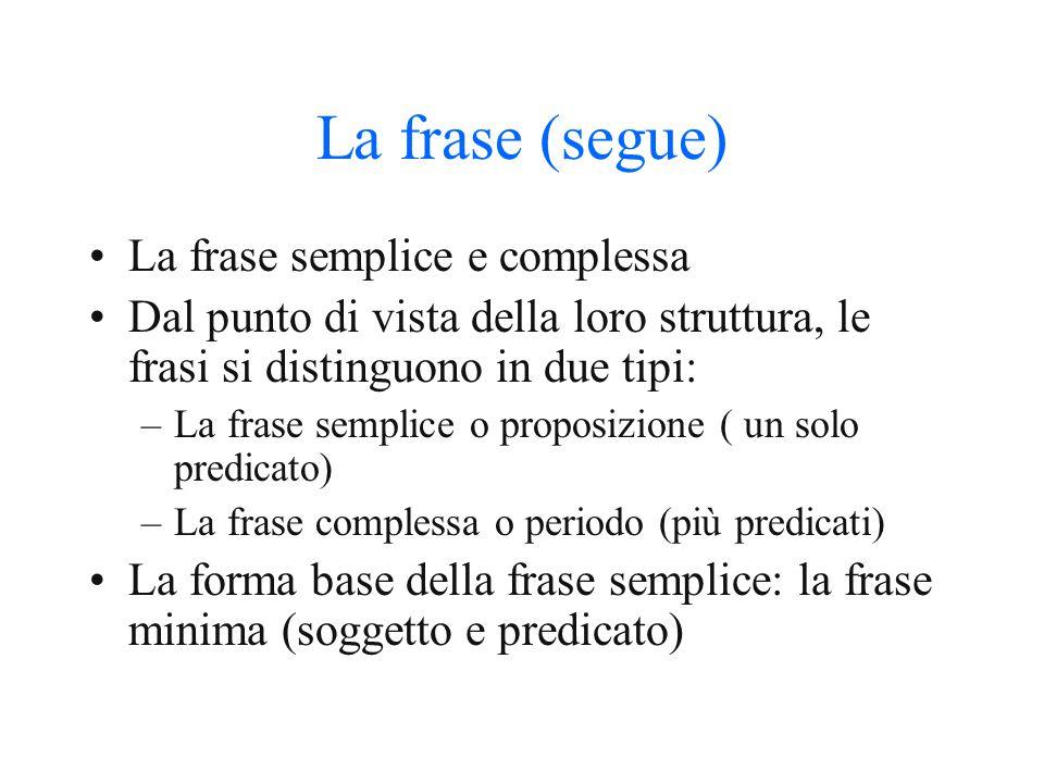 La frase (segue) La frase semplice e complessa