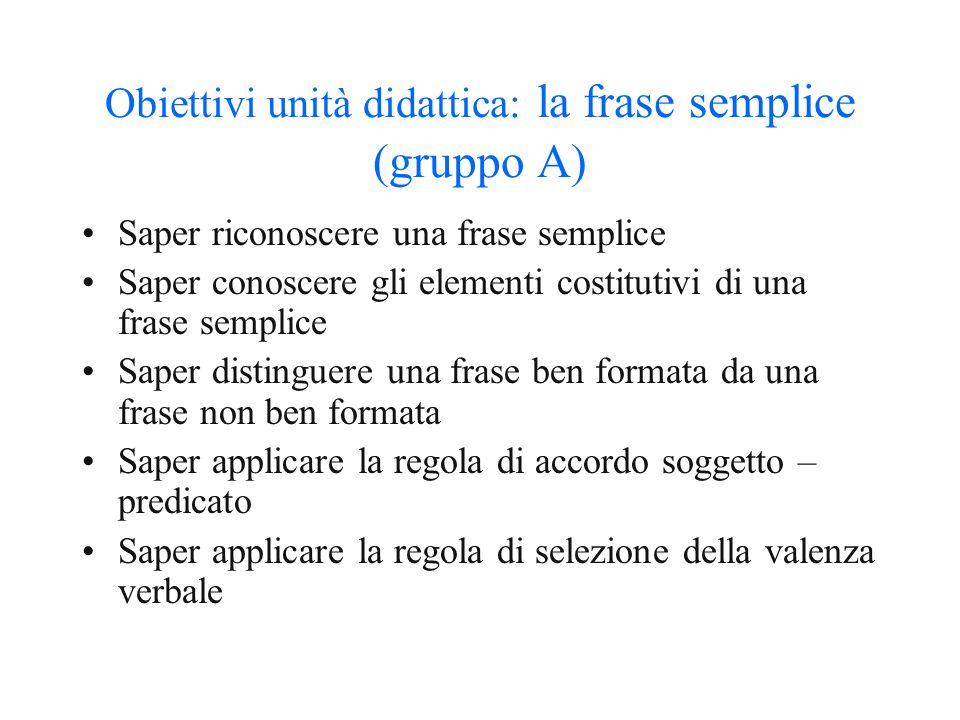 Obiettivi unità didattica: la frase semplice (gruppo A)