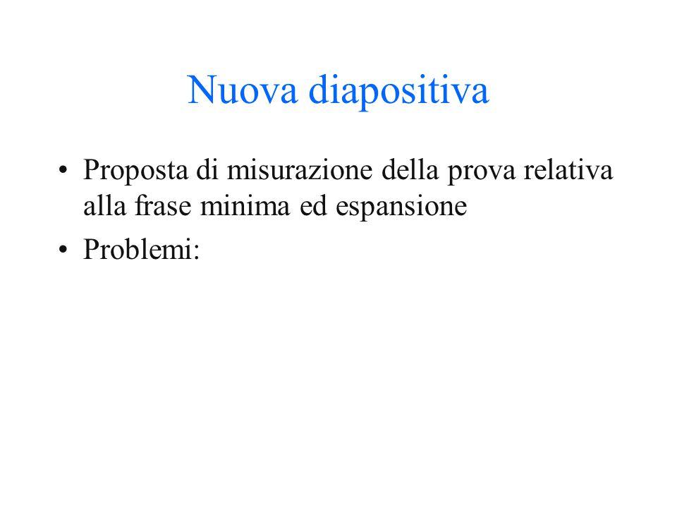 Nuova diapositiva Proposta di misurazione della prova relativa alla frase minima ed espansione.