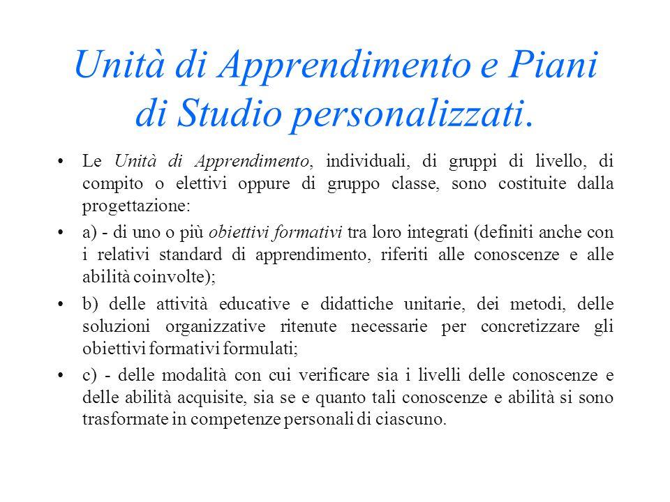 Unità di Apprendimento e Piani di Studio personalizzati.