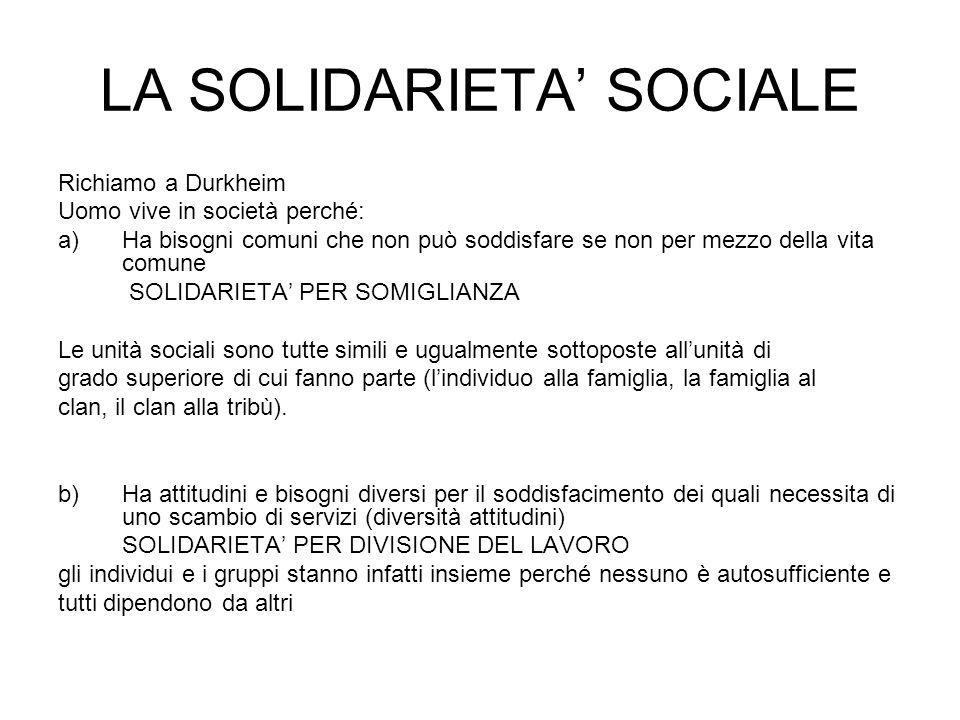 LA SOLIDARIETA' SOCIALE