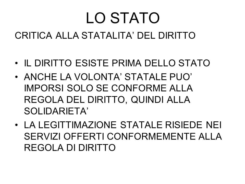 LO STATO CRITICA ALLA STATALITA' DEL DIRITTO
