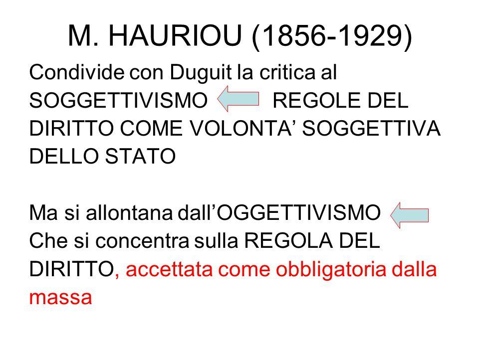 M. HAURIOU (1856-1929) Condivide con Duguit la critica al
