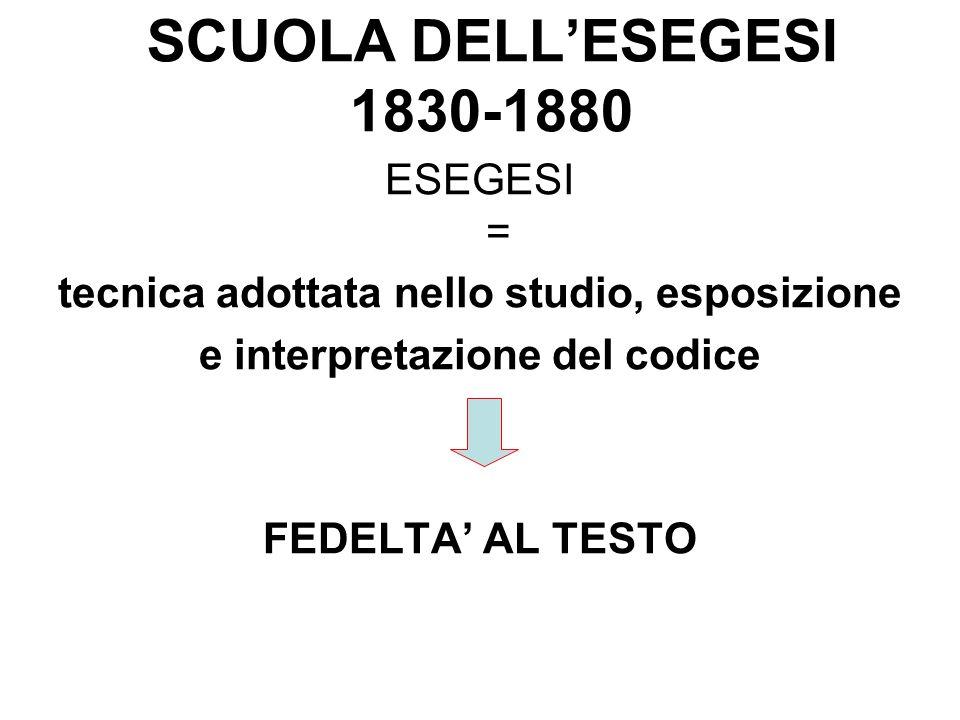 SCUOLA DELL'ESEGESI 1830-1880 ESEGESI =