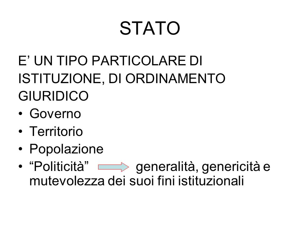 STATO E' UN TIPO PARTICOLARE DI ISTITUZIONE, DI ORDINAMENTO GIURIDICO