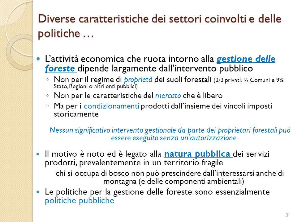 Diverse caratteristiche dei settori coinvolti e delle politiche …
