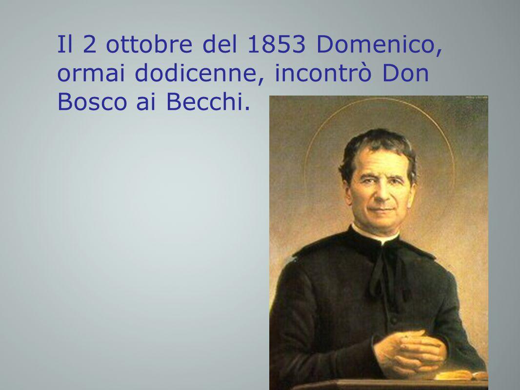 Il 2 ottobre del 1853 Domenico, ormai dodicenne, incontrò Don Bosco ai Becchi.