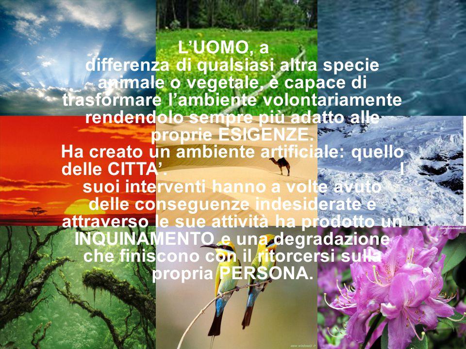 L'UOMO, a differenza di qualsiasi altra specie animale o vegetale, è capace di trasformare l'ambiente volontariamente rendendolo sempre più adatto alle proprie ESIGENZE.