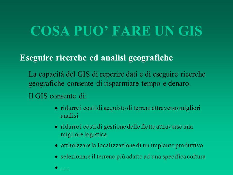 COSA PUO' FARE UN GIS Eseguire ricerche ed analisi geografiche