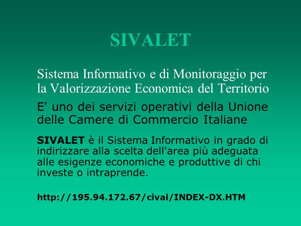 SIVALET Sistema Informativo e di Monitoraggio per la Valorizzazione Economica del Territorio.