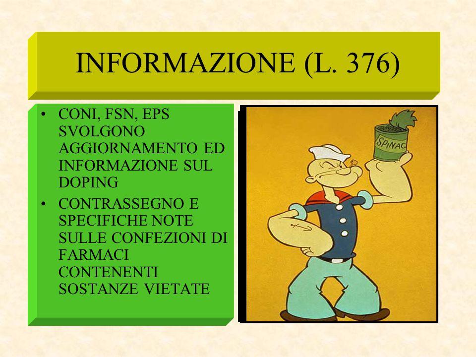 INFORMAZIONE (L. 376) CONI, FSN, EPS SVOLGONO AGGIORNAMENTO ED INFORMAZIONE SUL DOPING.