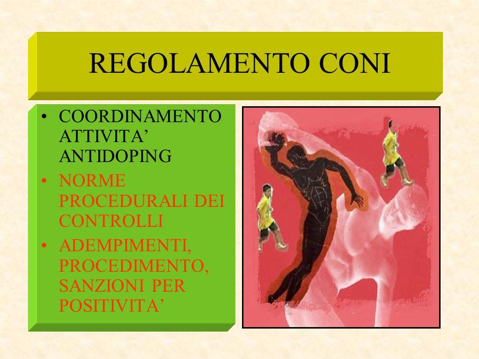 REGOLAMENTO CONI COORDINAMENTO ATTIVITA' ANTIDOPING