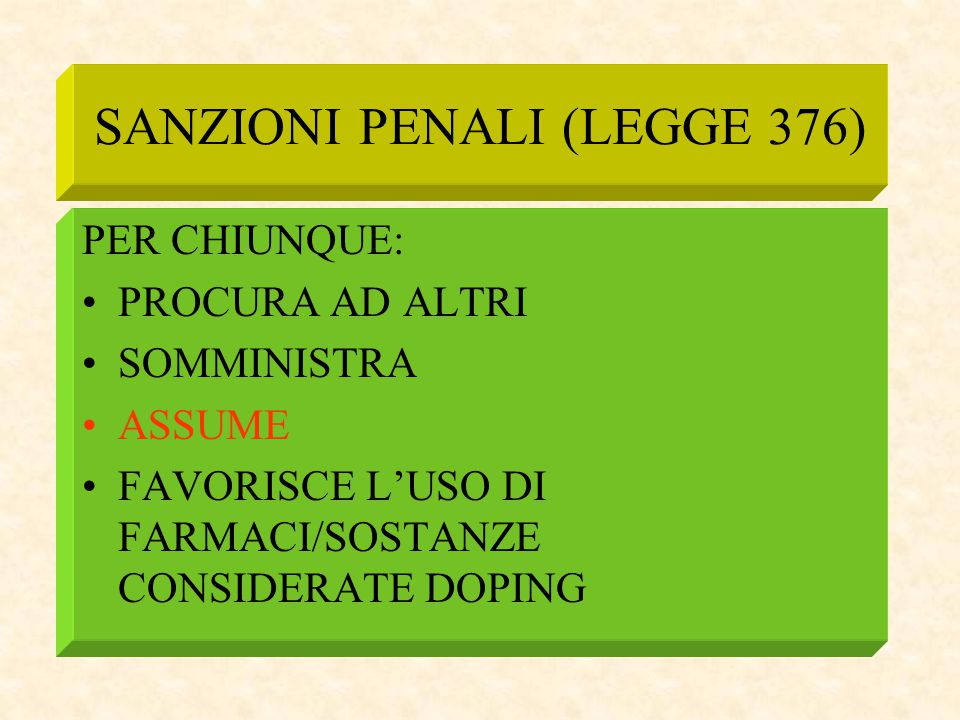 SANZIONI PENALI (LEGGE 376)