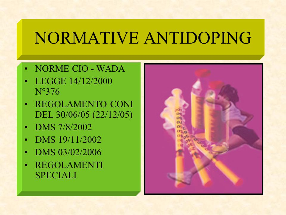 NORMATIVE ANTIDOPING NORME CIO - WADA LEGGE 14/12/2000 N°376