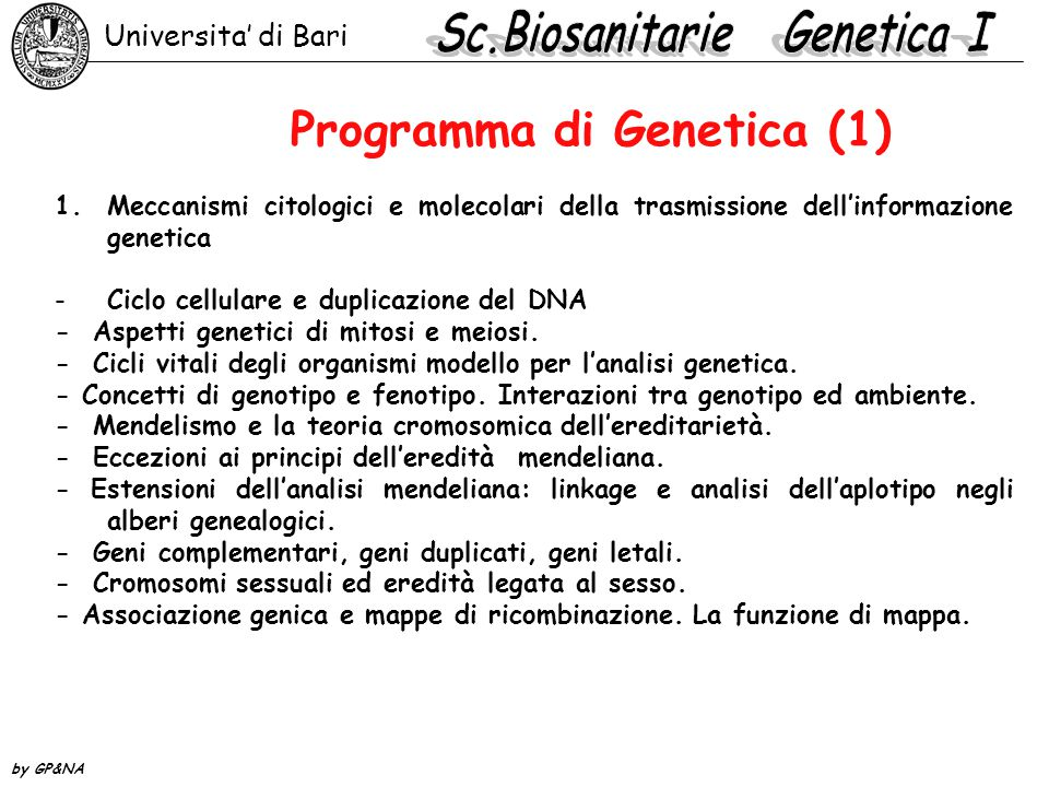 Programma di Genetica (1)