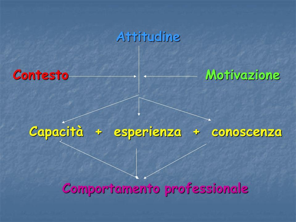 Attitudine Contesto Motivazione. Capacità + esperienza + conoscenza.