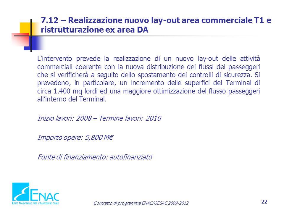 7.12 – Realizzazione nuovo lay-out area commerciale T1 e ristrutturazione ex area DA