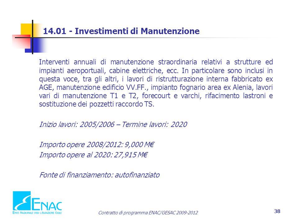 14.01 - Investimenti di Manutenzione