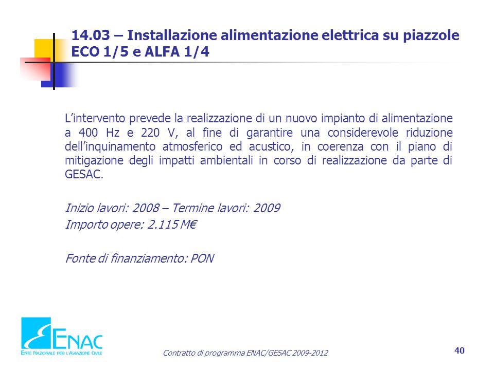 14.03 – Installazione alimentazione elettrica su piazzole ECO 1/5 e ALFA 1/4