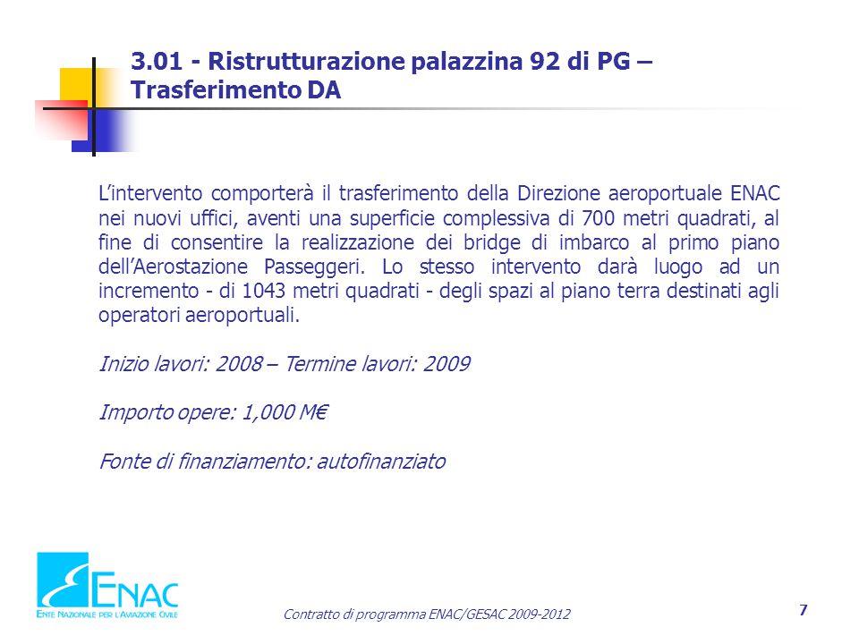 3.01 - Ristrutturazione palazzina 92 di PG – Trasferimento DA