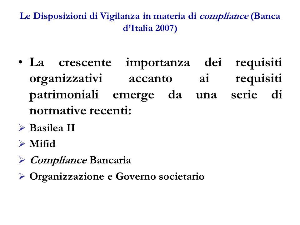 Le Disposizioni di Vigilanza in materia di compliance (Banca d'Italia 2007)