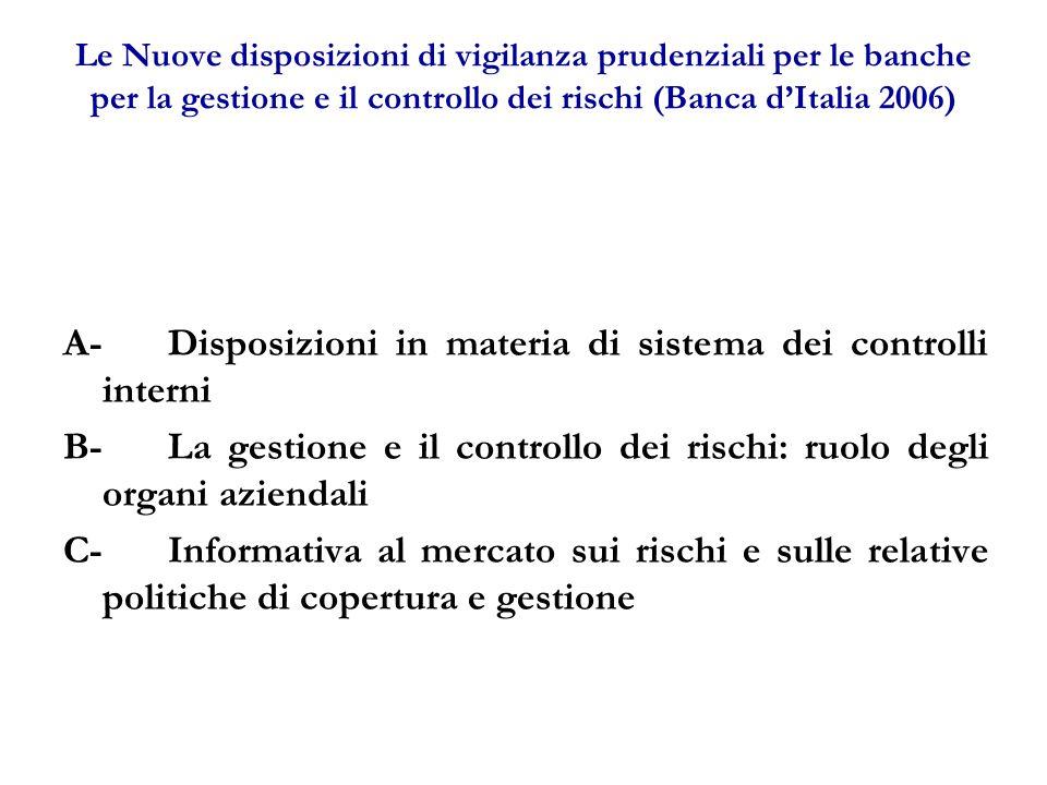 A- Disposizioni in materia di sistema dei controlli interni