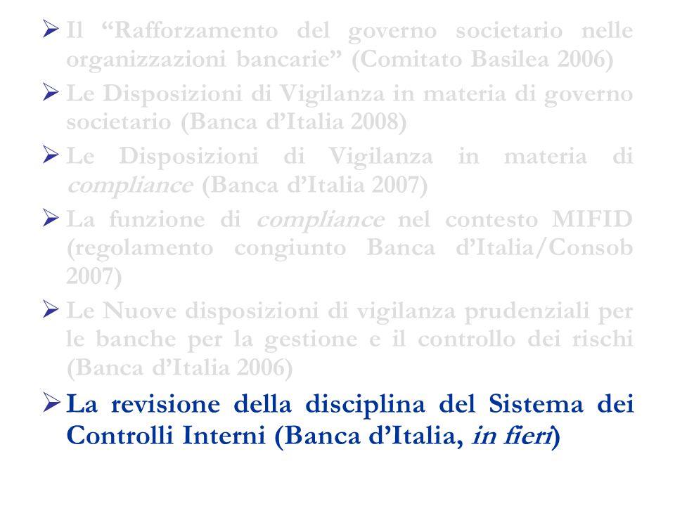 Il Rafforzamento del governo societario nelle organizzazioni bancarie (Comitato Basilea 2006)