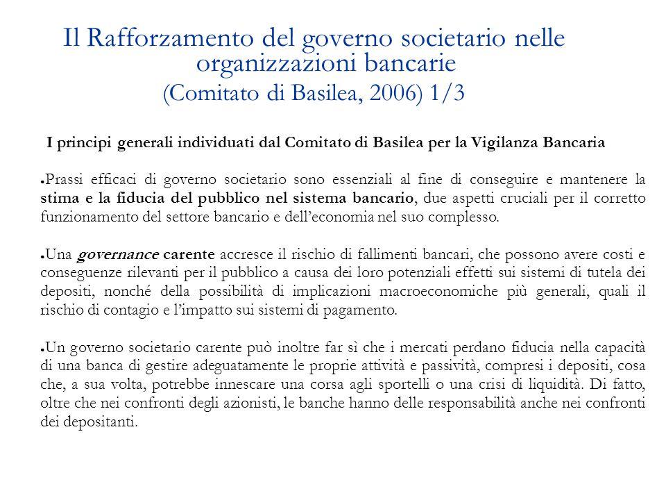 Il Rafforzamento del governo societario nelle organizzazioni bancarie