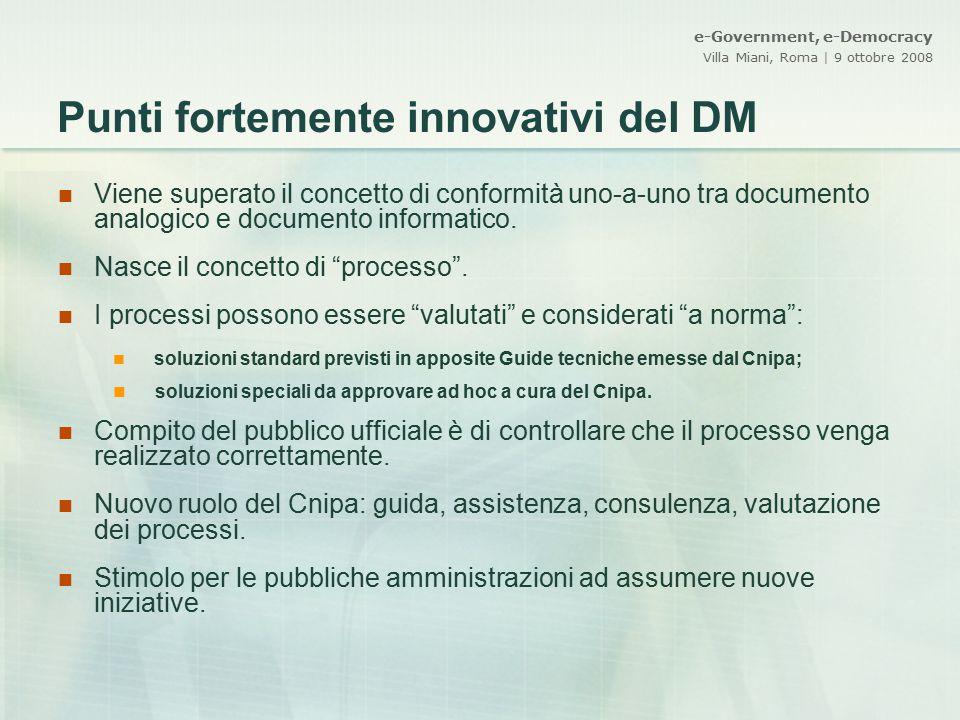 Punti fortemente innovativi del DM
