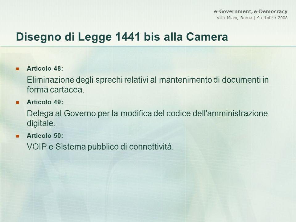 Disegno di Legge 1441 bis alla Camera