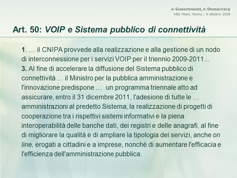 Art. 50: VOIP e Sistema pubblico di connettività