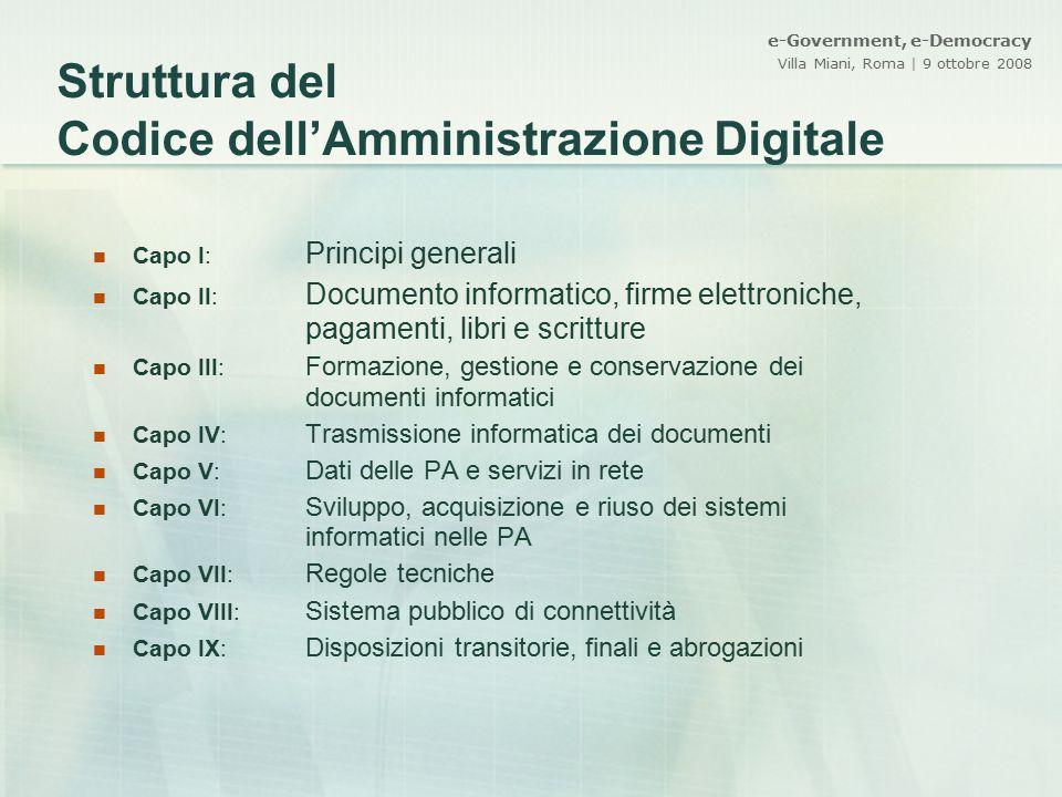 Struttura del Codice dell'Amministrazione Digitale