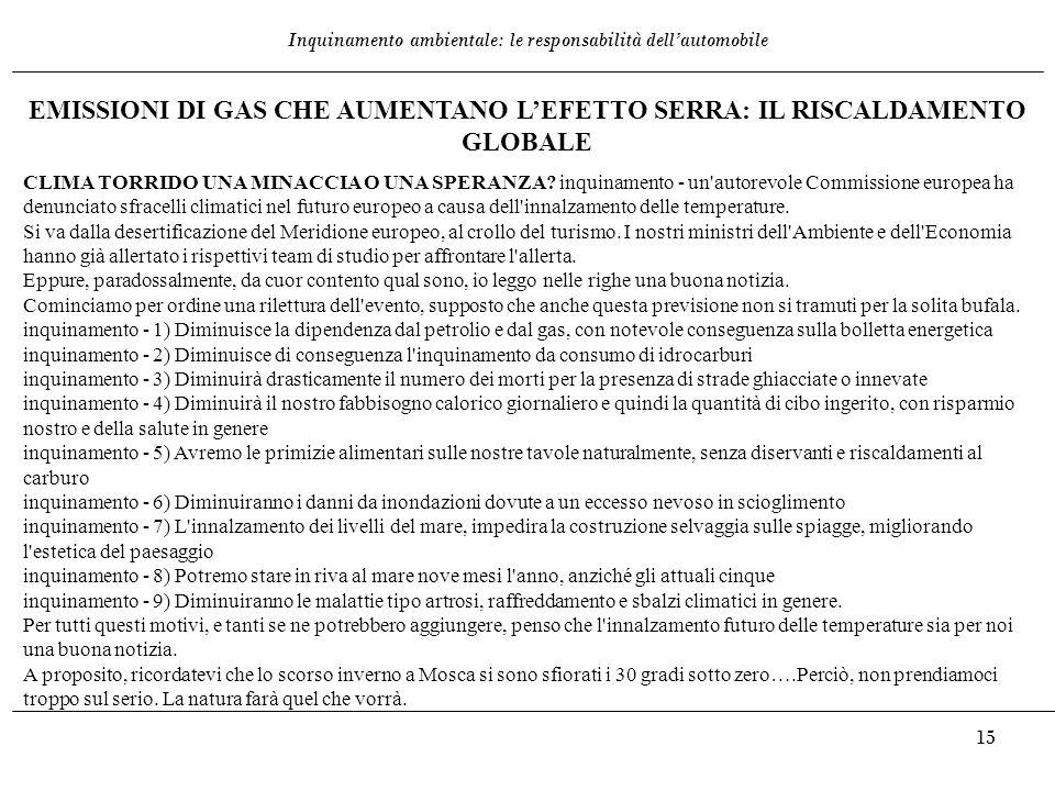 EMISSIONI DI GAS CHE AUMENTANO L'EFETTO SERRA: IL RISCALDAMENTO GLOBALE