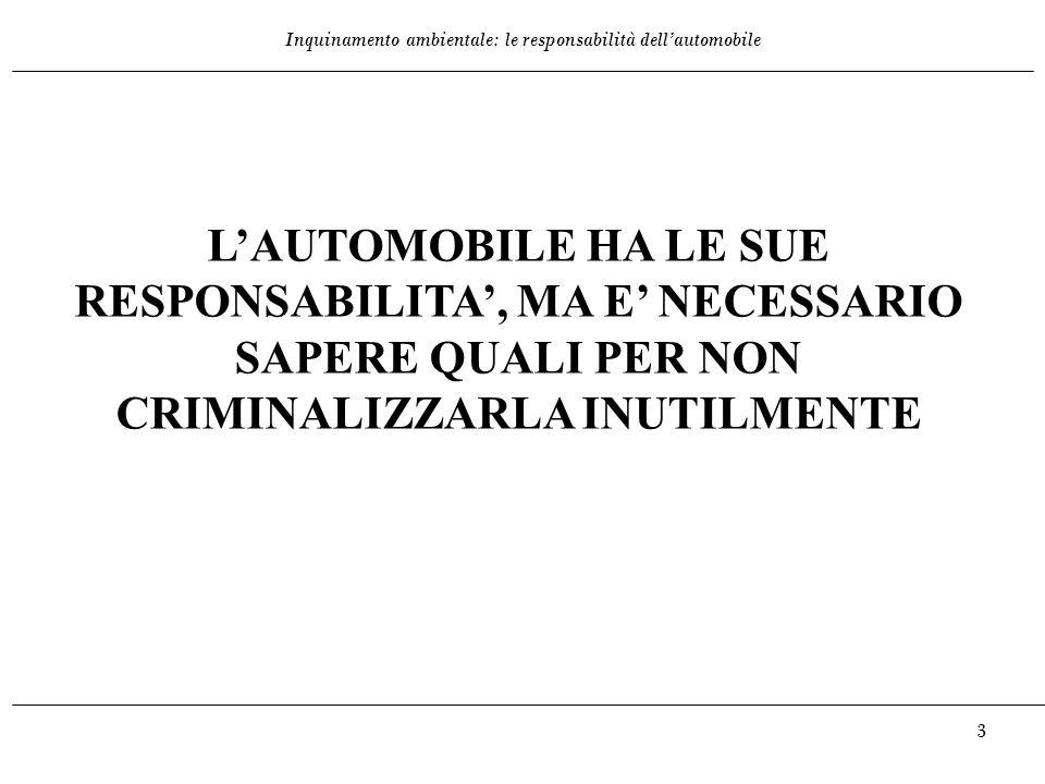 L'AUTOMOBILE HA LE SUE RESPONSABILITA', MA E' NECESSARIO SAPERE QUALI PER NON CRIMINALIZZARLA INUTILMENTE