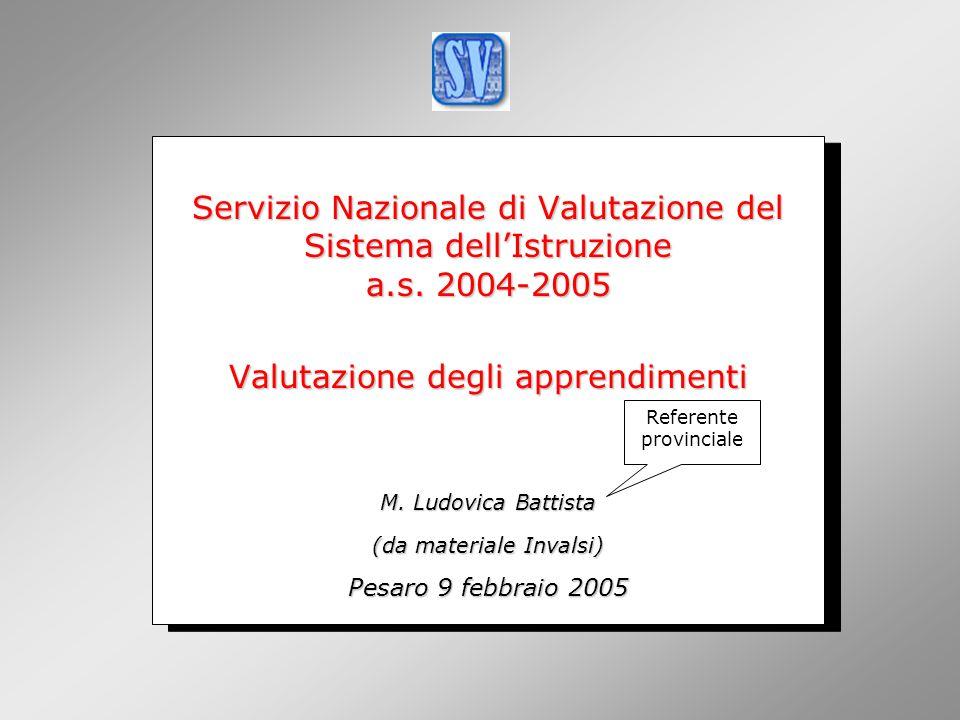 INValSI Servizio Nazionale di Valutazione del Sistema dell'Istruzione a.s. 2004-2005. Valutazione degli apprendimenti.