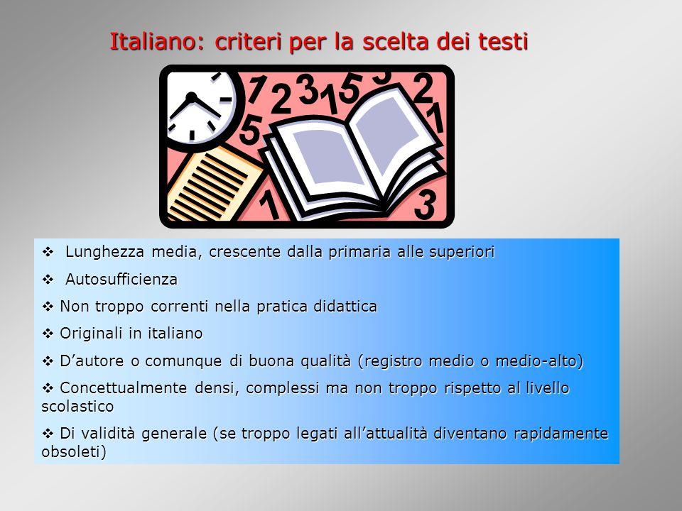Italiano: criteri per la scelta dei testi