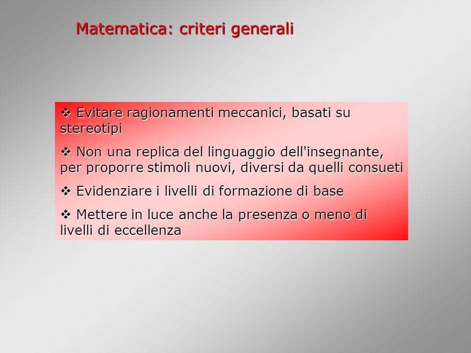 Matematica: criteri generali
