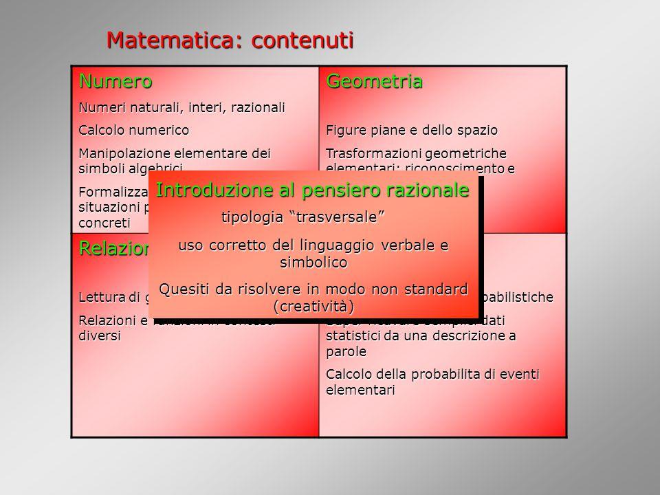 Matematica: contenuti