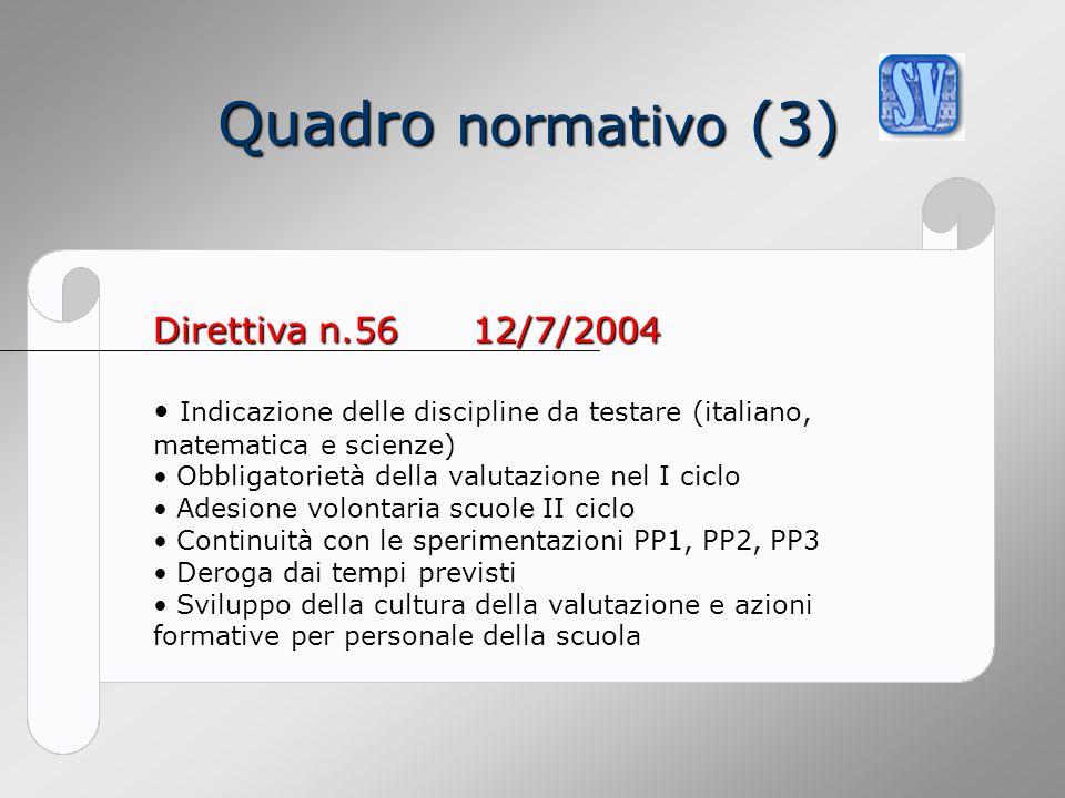 Quadro normativo (3) Direttiva n.56 12/7/2004
