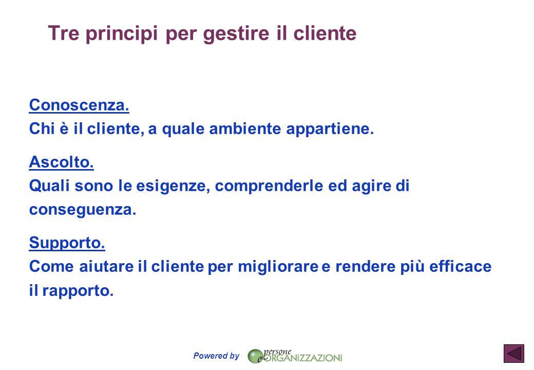 Tre principi per gestire il cliente