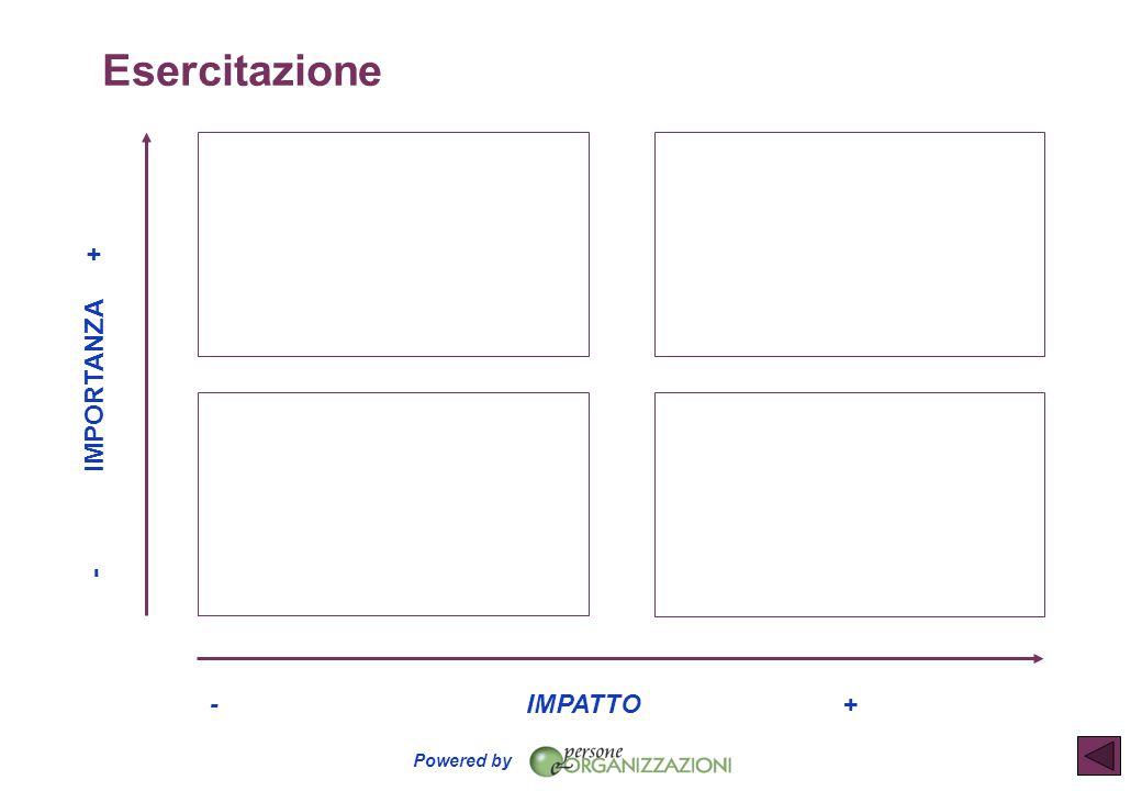 Esercitazione - IMPORTANZA + - IMPATTO +