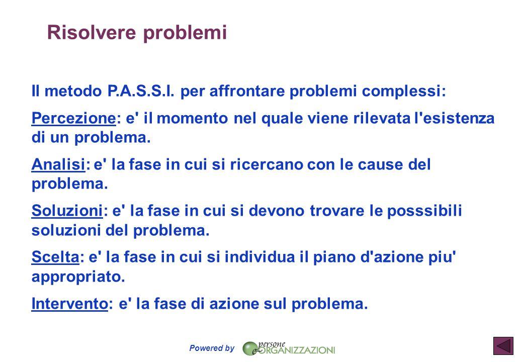Risolvere problemi Il metodo P.A.S.S.I. per affrontare problemi complessi:
