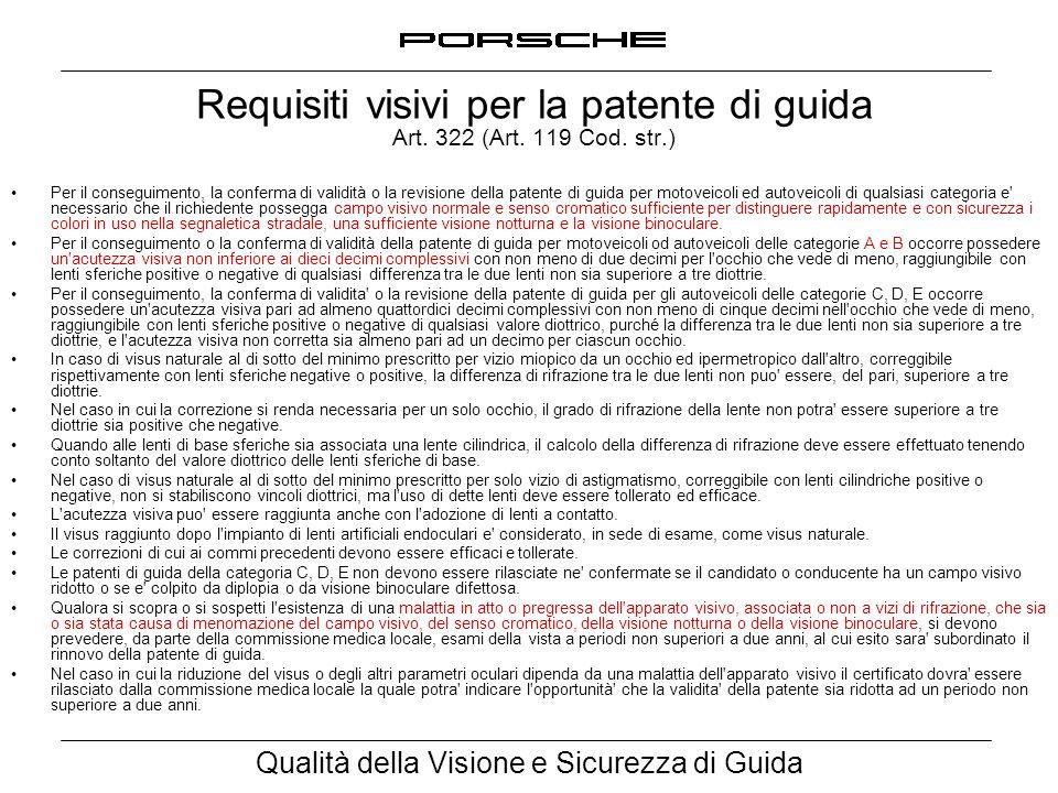 Requisiti visivi per la patente di guida Art. 322 (Art. 119 Cod. str.)