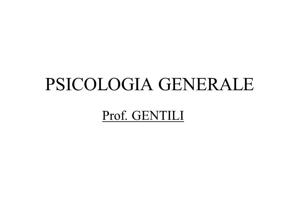 PSICOLOGIA GENERALE Prof. GENTILI
