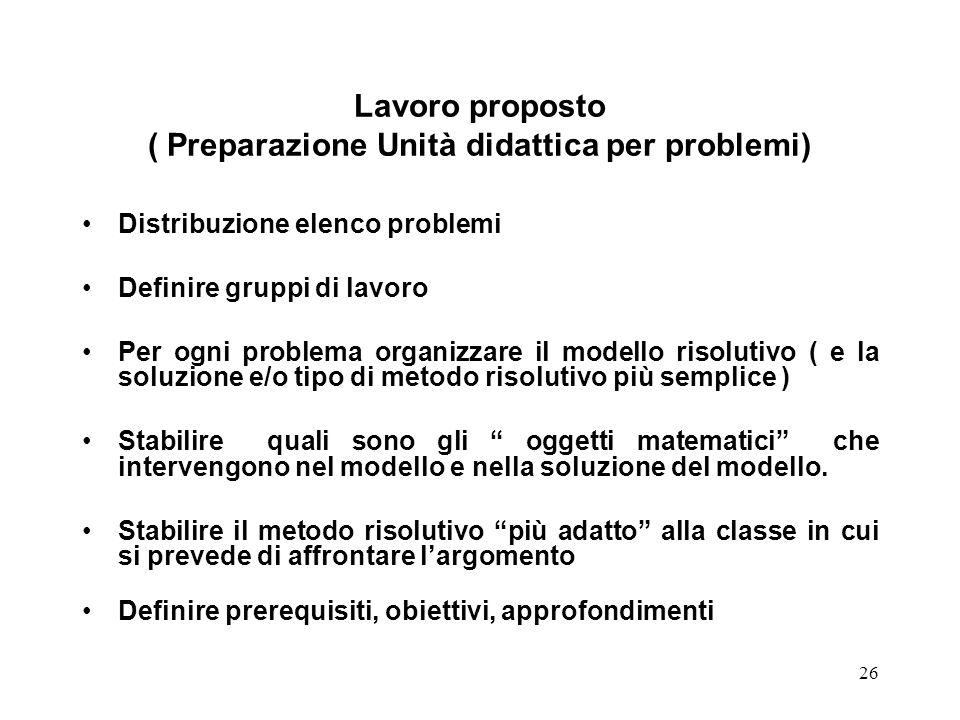 Lavoro proposto ( Preparazione Unità didattica per problemi)